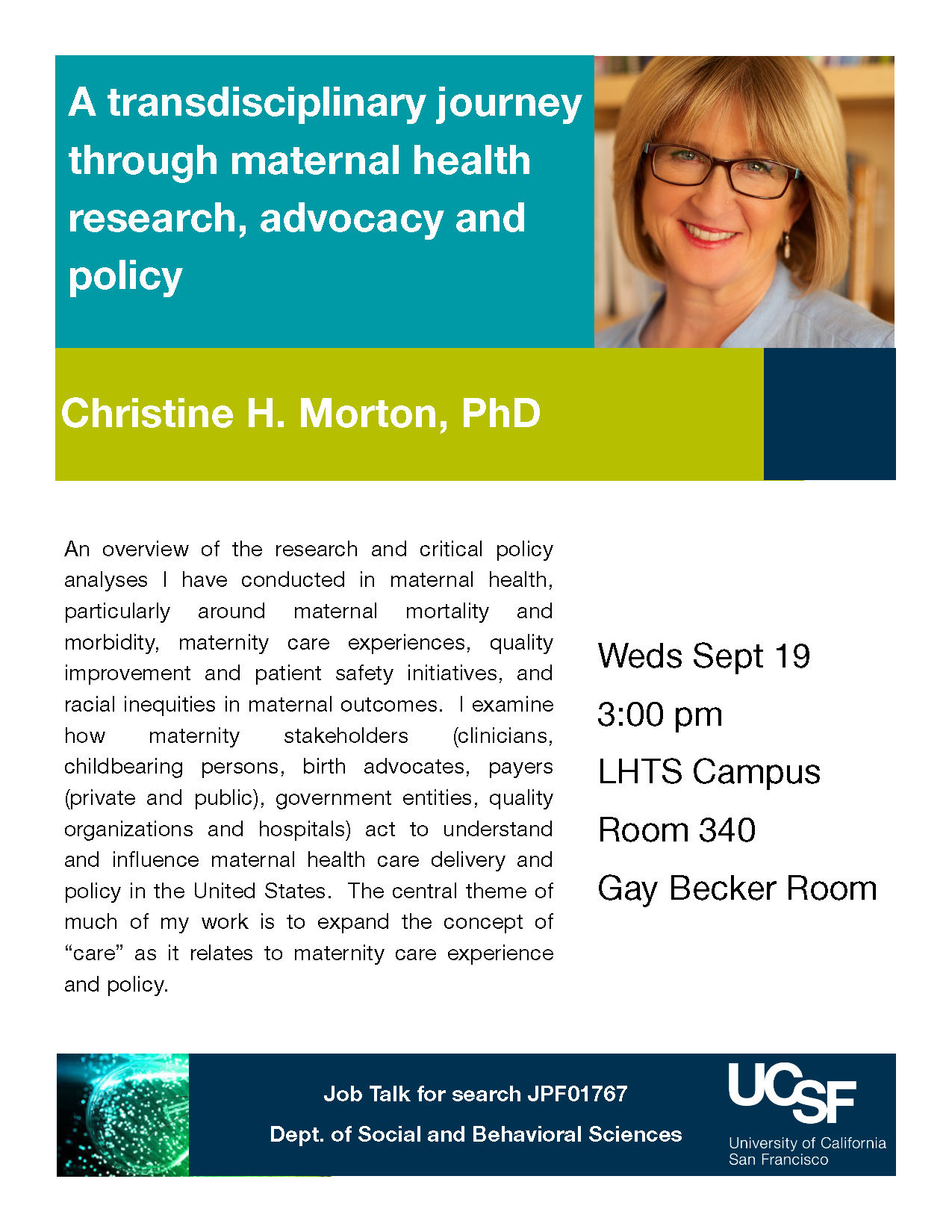 Job Talk Christine Morton Nursing Health Policy